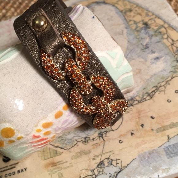 King Star Jewelry - King Star rhinestones leather bracelet bronze